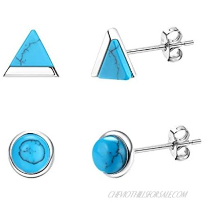 Milacolato 2 Pairs Turquoise Stud Earrings Sterling Silver Small Stud Earrings 18K Gold Plated Triangle & Round Turquoise Stud Earrings for Women Men