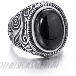 Elfasio Men Stainless Steel Rings Natural Oval Black Onyx Gem Ring Vintage Jewelry Size 8-15