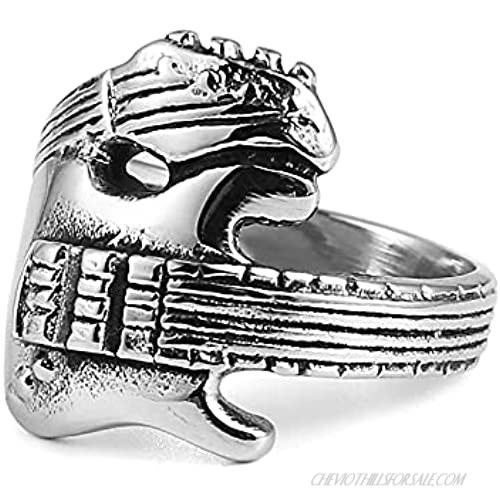 HZMAN Men Women Stainless Steel Personality Music Guitar Punk Rock Jewelry Ring