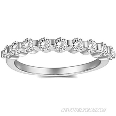 Nossa Round Brilliant Cut CZ Half Eternity Setting Rhodium Plated Wedding Engagement Band Ring Stackable Ring Bridal Ring