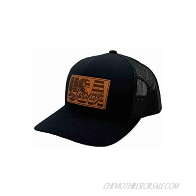 Apollo Cap Co. Trucker Cap - Leather USA Strong Patch Hat - Snapback Closure - Mid Profile Crown - Great for Men and Women!