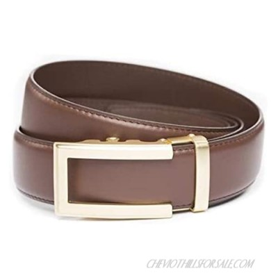 """Anson Belt & Buckle - 1.5"""" Traditional Gold Buckle with Ratchet Belt Strap"""