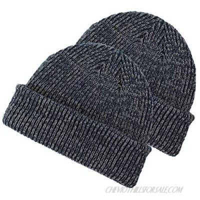 Marky G Apparel Ribbed Marled Beanie (2 Pack)