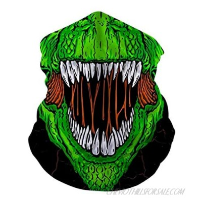 T-Rex Dinosaur Neck Gaiter Summer Cool Breathable Lightweight Sun Wind-proof Reusable Face Mask Cover For Men Cycling Running Hiking Motorcycle Fishing Outdoor Sport