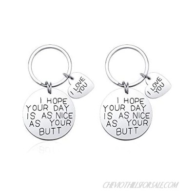 SUNSH I Hope Your Day is As Nice As Your Butt Keychain for Men Women Teen Girls Boy Couple Romantic Boyfriend Girlfriend Mother Father Daughter Sister Brother Friendship Gifts Pack of 2