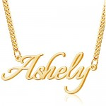 Dreamdecor Custom Name Necklace 18K Gold Plated Curb Chain Personalized Initial Necklace for Men Women