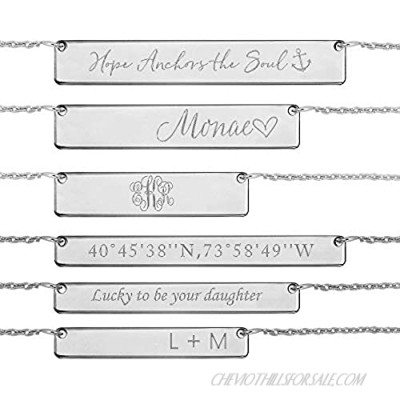 JOELLE JEWELRY Custom Name Bar Necklace Sterling Silver - Personalised Nameplate Necklace with Any Name