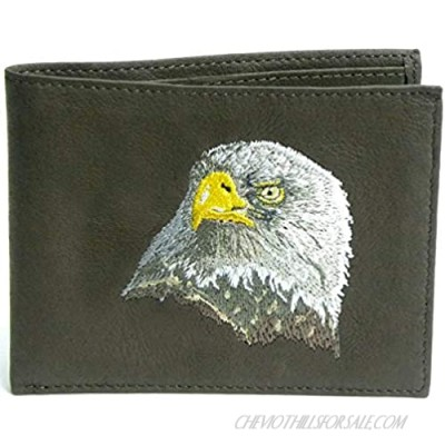Eagle Head Bifold Brown Leather Wallet