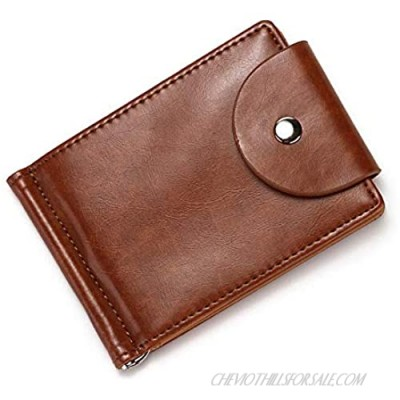 Luxury ID Credit Card Holder Zipper Wallet Pull Type Hasp Card Cases Coin Bag Money Clip Slim Leather Wallet(Brown)