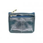SEEFOUN Women's Genuine Leather Wax Finish Zip Slim Wallet Coin Pocket with Key Ring